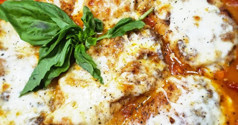 Chicken Parmesan with a Light Caprese Broth