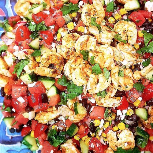 Chopped Mexican Salad with Shrimp