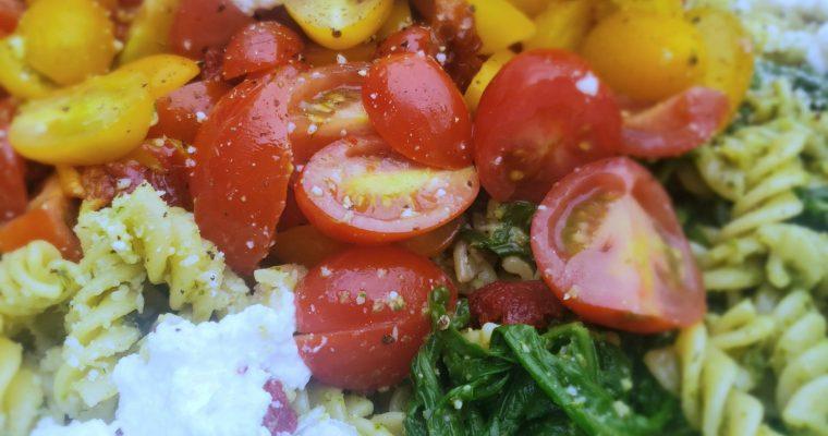 Kale Pesto Pasta with Arugula, Tomatoes and Honey Lemon Ricotta