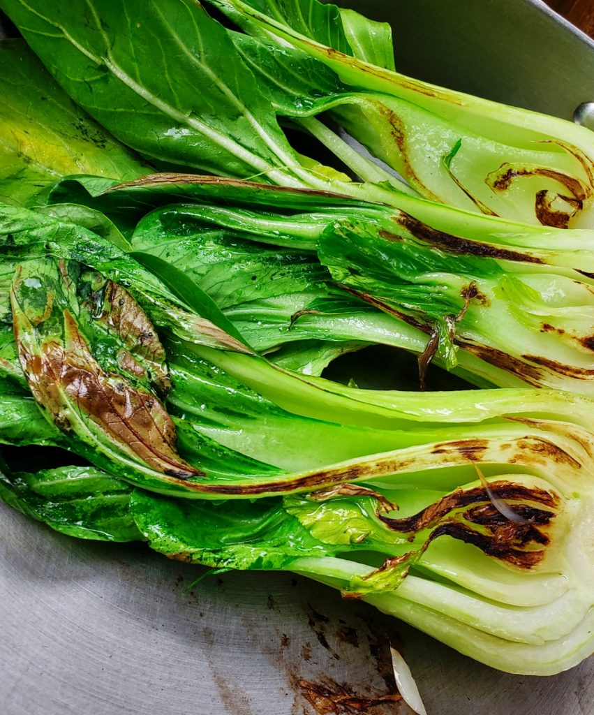 saute bok chok cut side down for browning
