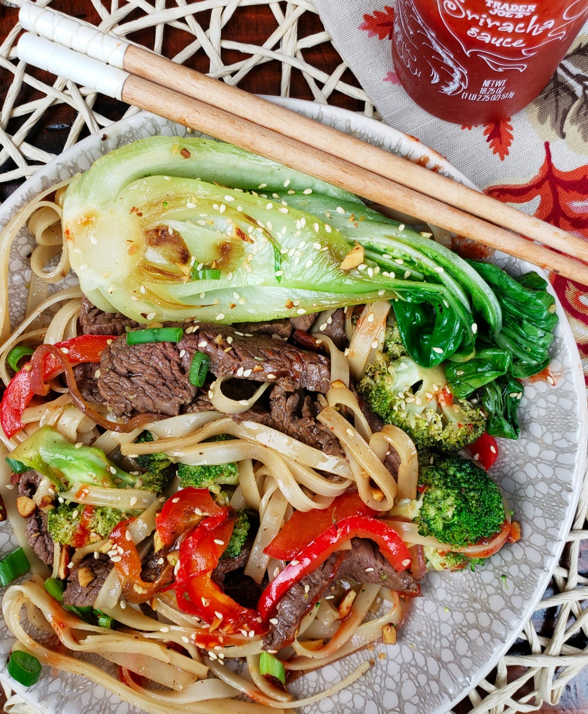Flank Steak, Boy Choy and Broccoli with Gluten Free Rice Noodles