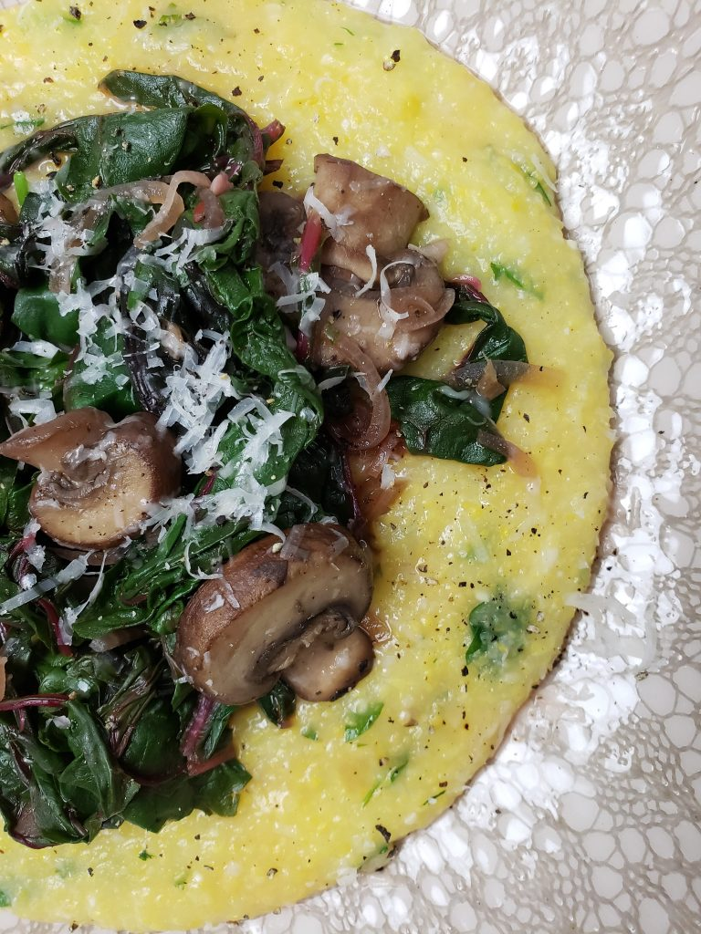 Polenta with Swiss Chard and Baby Bella Mushrooms