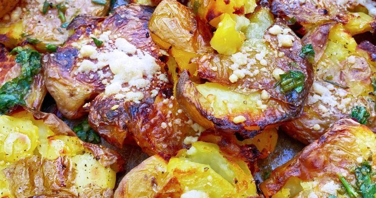 Roasted + Smashed Parmesan Herb Potatoes