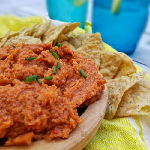 sharp up close image side view image of spicy chipotle white bean dip