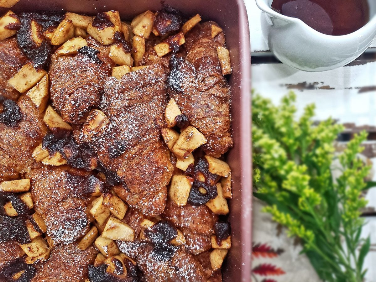 Baked Croissant French Toast with Cinnamon Brandy Apples