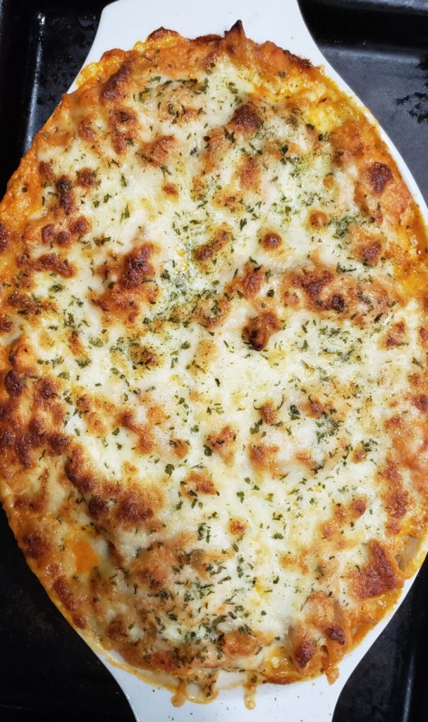 baking dish of baked ziti browned in oven