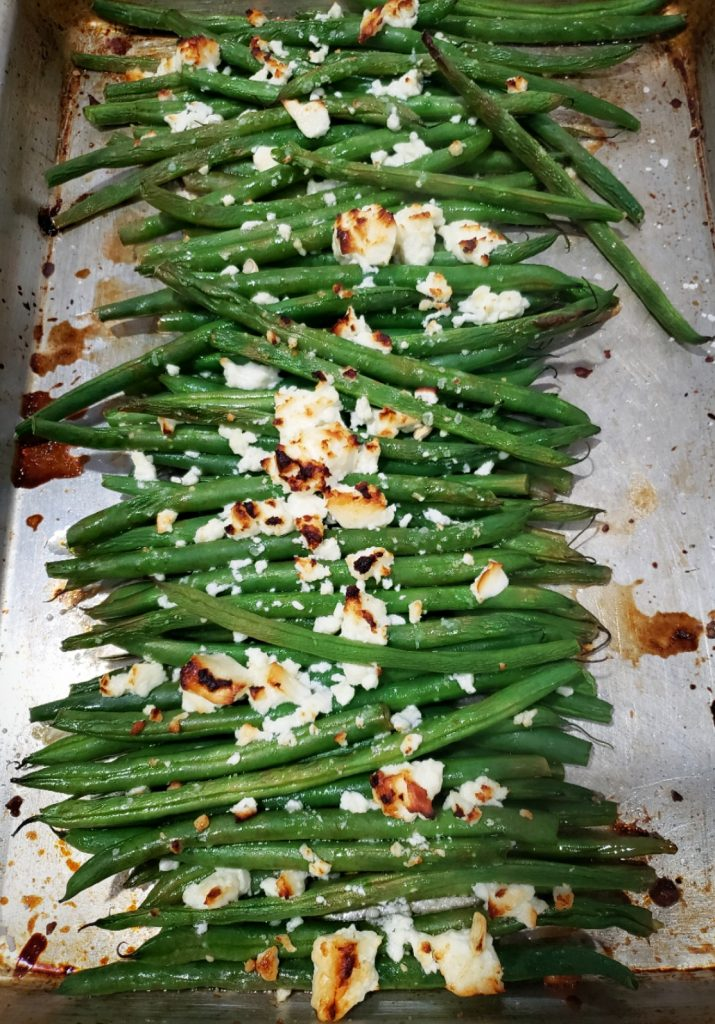 roasted haricot verts with browned feta