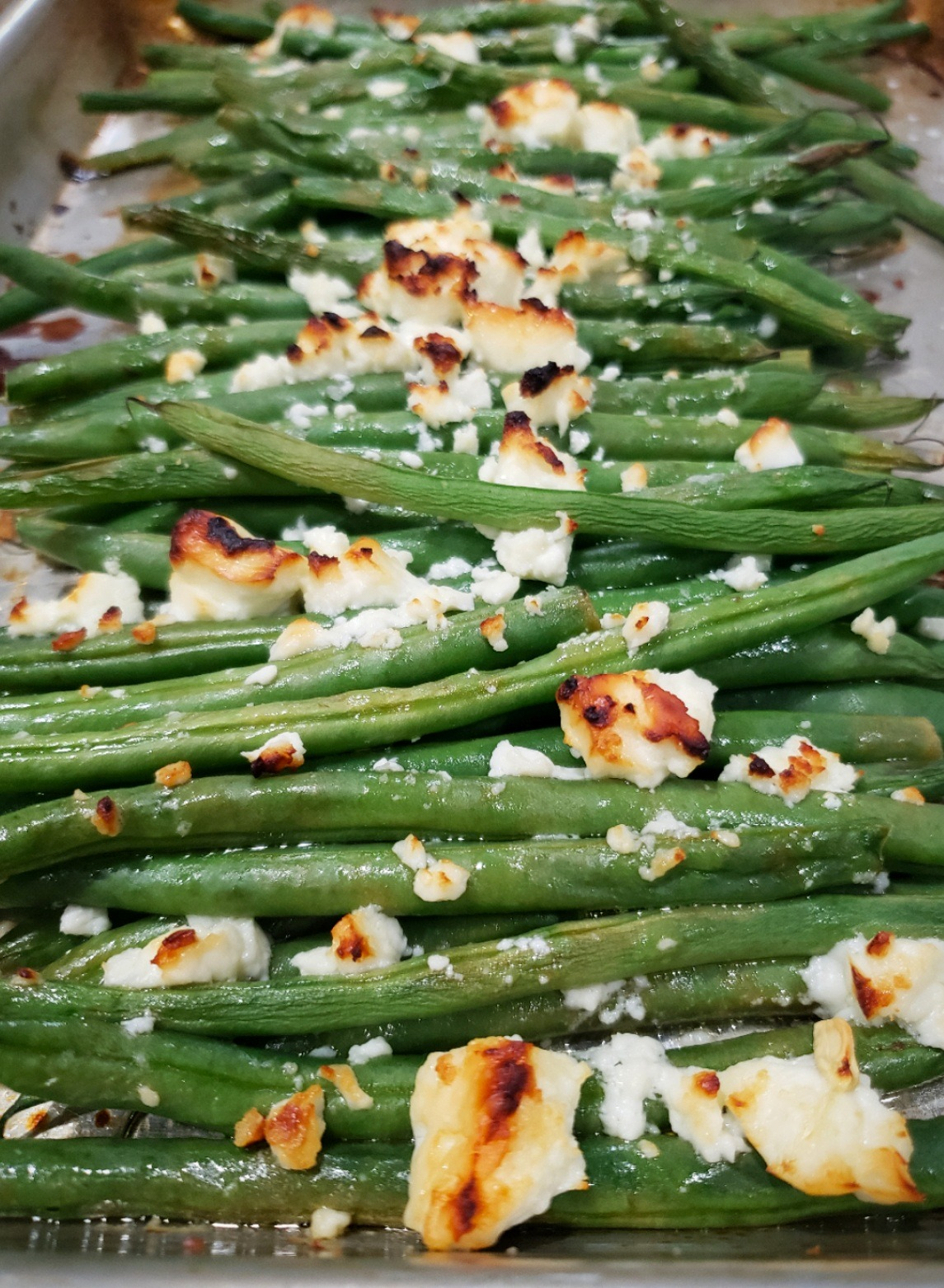 Roasted Haricots Verts with Lemon and Feta