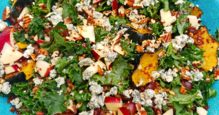 Autumn Kale Salad with Maple Roasted Squash, Whole Grains, Grapes and Apples