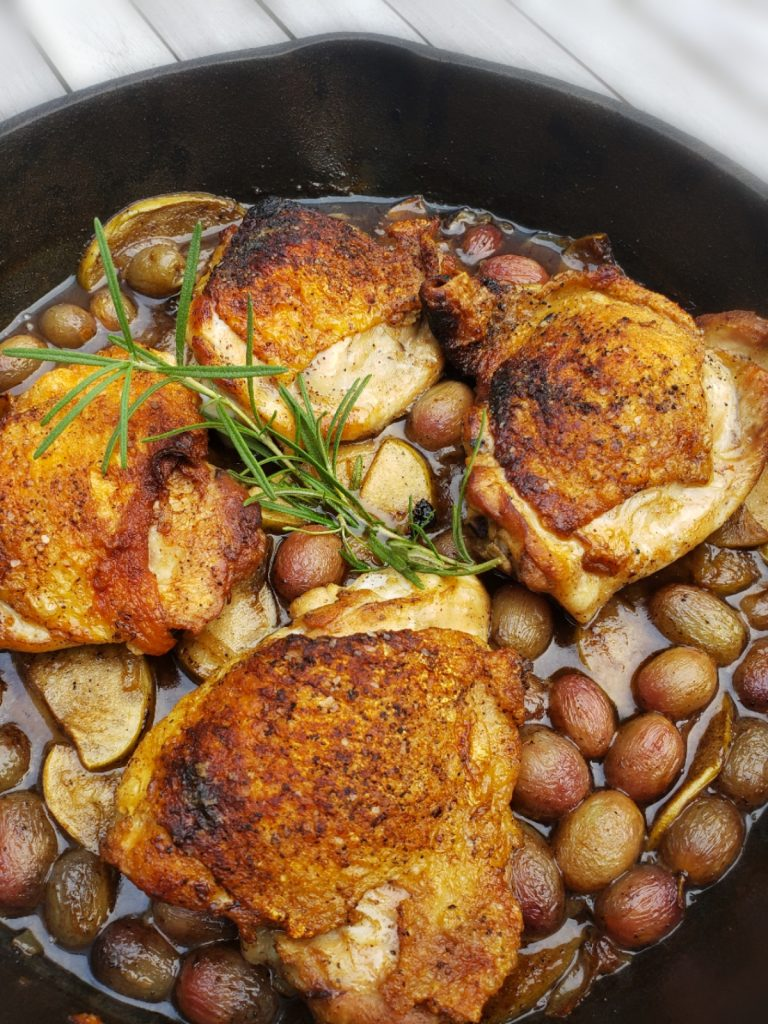 Cast Iron Chicken Thighs with Apple, Grape and Sage Sauce