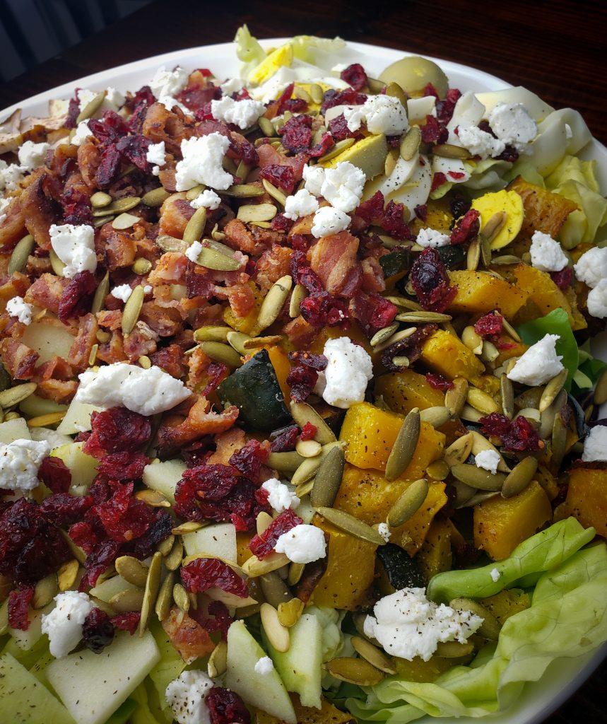 harvest cobb salad in large salad bowl