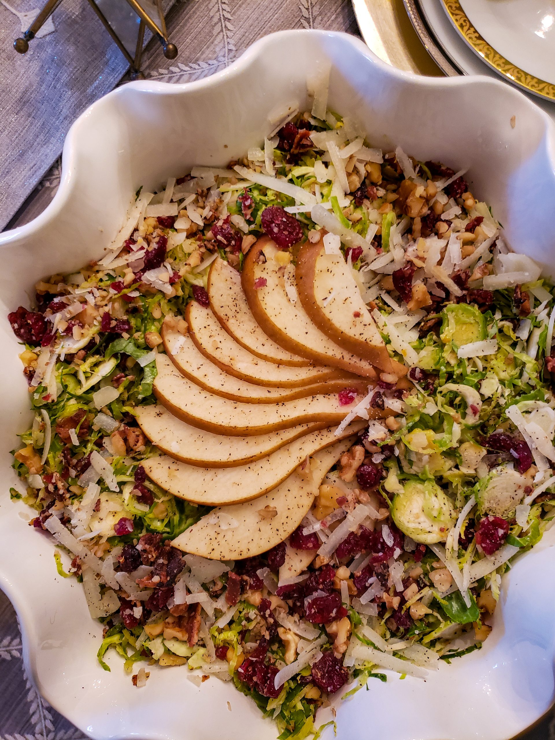 Shaved Brussels Sprout Salad with Pear, Bacon and Cranberry