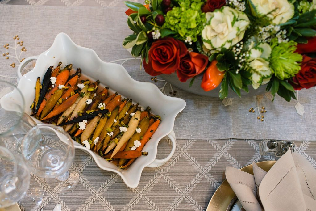 Maple Glazed Carrots with Goat Cheese, Pistachio & Pomegranate