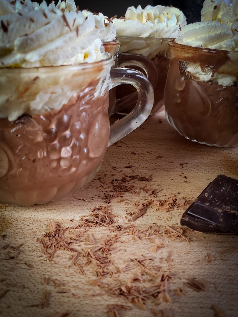 dark chocolate mousse with fresh whipped cream