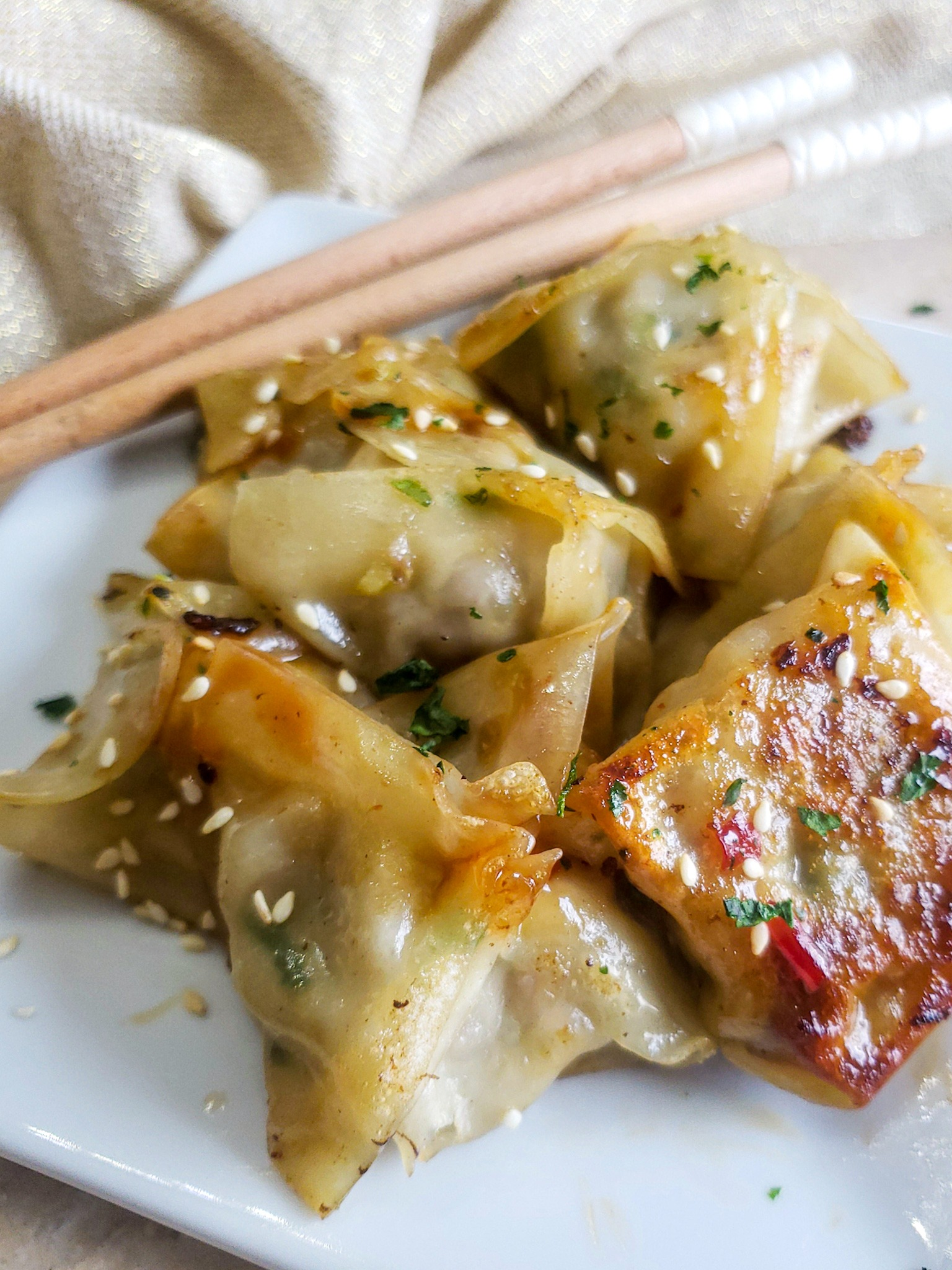 Ginger Pork and Brussels Sprout Potstickers with Sweet Chili Sauce