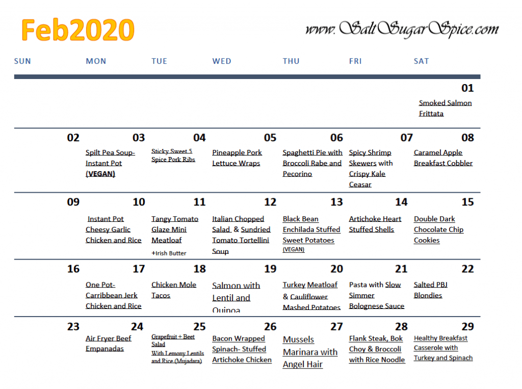 February 2020 Meal Plan