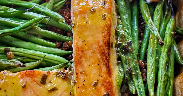 Baked Mustard Lemon Glazed Salmon over Lentils & Quinoa