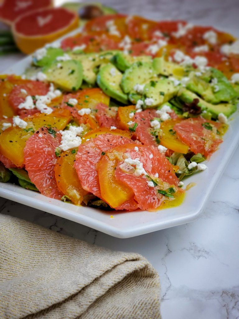 image of RED GRAPEFRUIT, GOLDEN BEET AND AVOCADO SALAD
