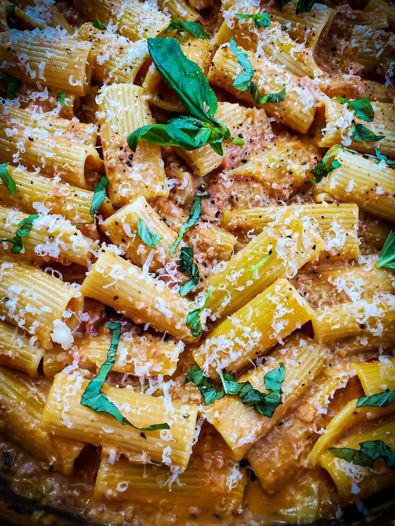 image of rigatoni a al vodka with basil and parmesan cheese