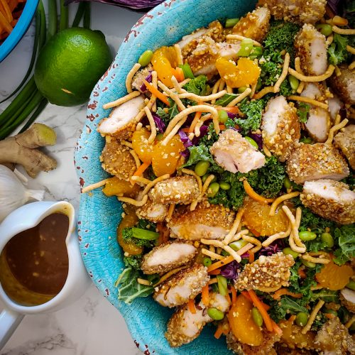 CHINESE SALAD WITH PEANUT- CRUSTED CHICKEN TENDERS
