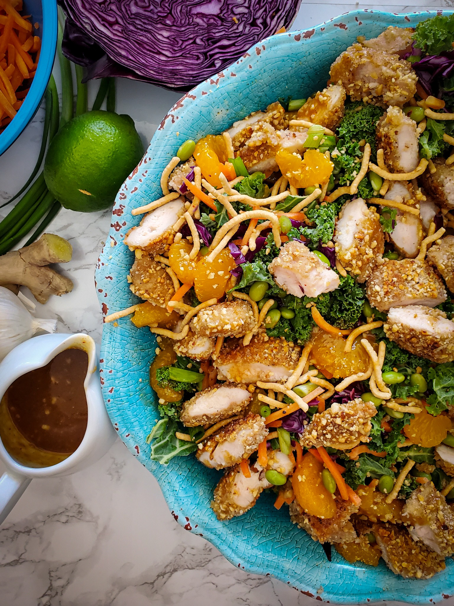 Chinese Salad with Peanut- Crusted Chicken Tenders {VIDEO}