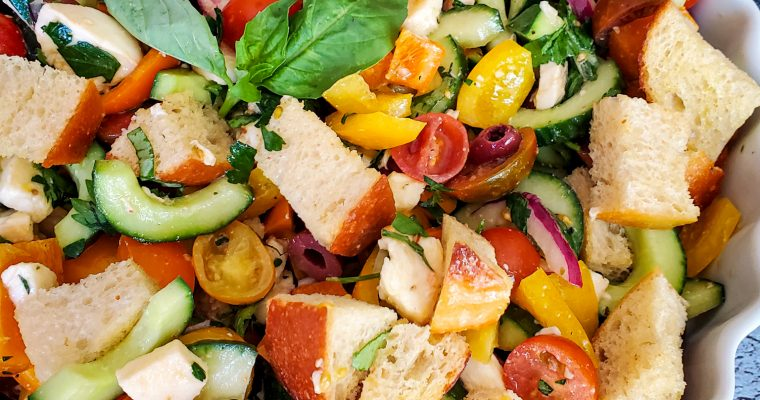 Panzanella Salad with Fresh Mozzarella and Herbs