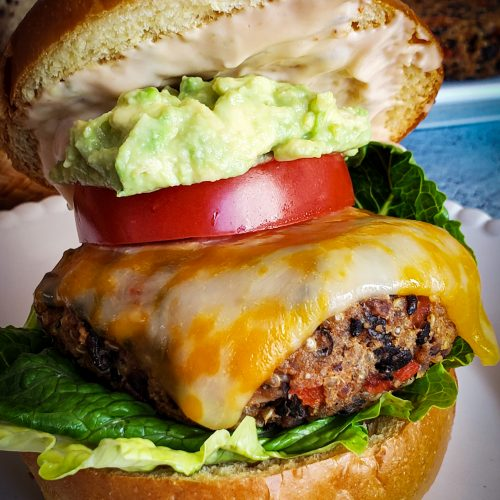 chipotle black bean veggie burger with avocado and chipotle mayo