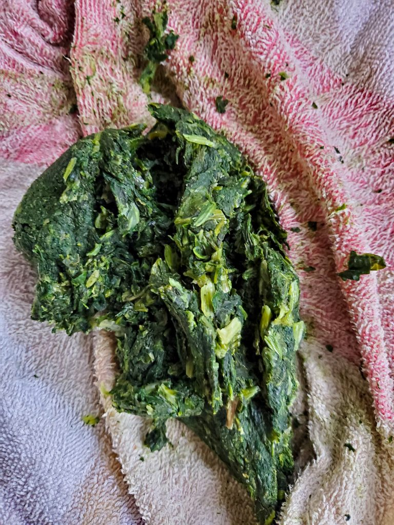 image of frozen spinach squeezed moisture