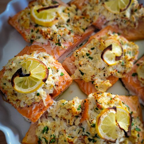 crab stuffed baked salmon