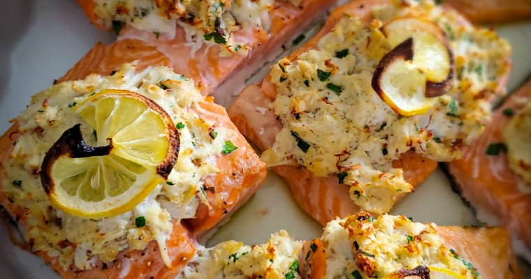 *Easy*Crab Stuffed Baked Salmon
