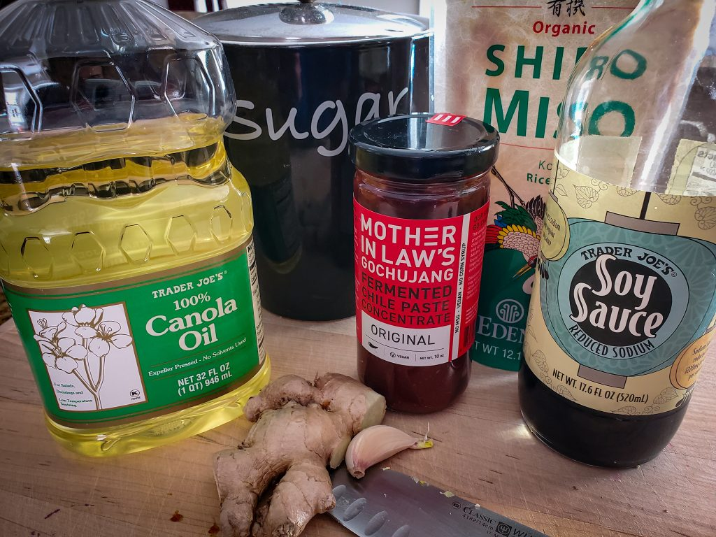 ingredients for 5 MINUTE Miso-Ginger Marinade