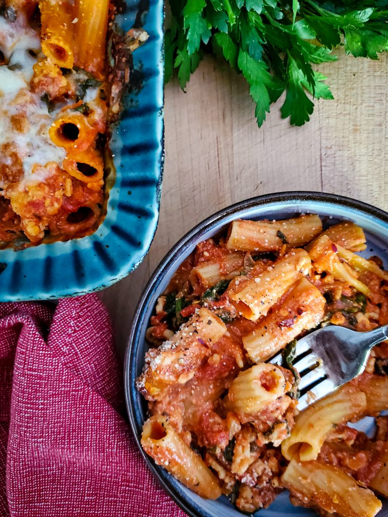 Turkey Baked Ziti with Spinach & Carrots