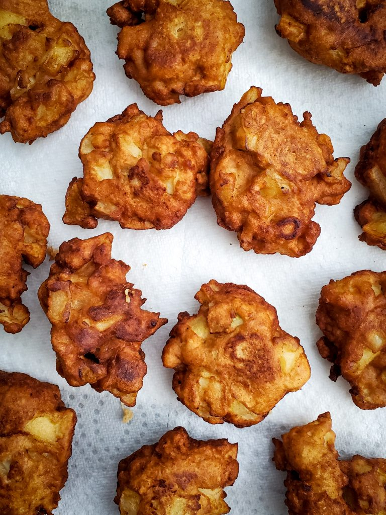 overhead image of CHAI-SPICED APPLE FRITTERS