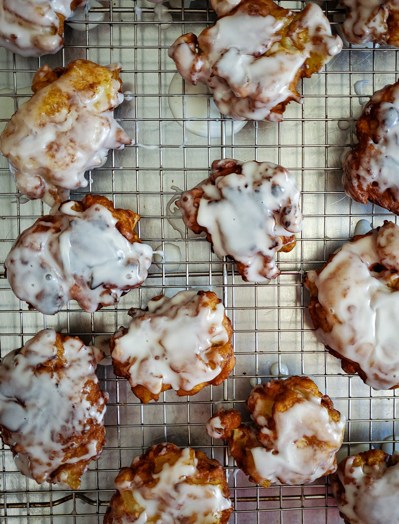 Easy Chai-Spiced Apple Fritters with Vanilla Glaze