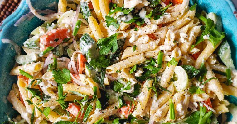 Pasta Salad with Lemony Buttermilk & Feta Dressing